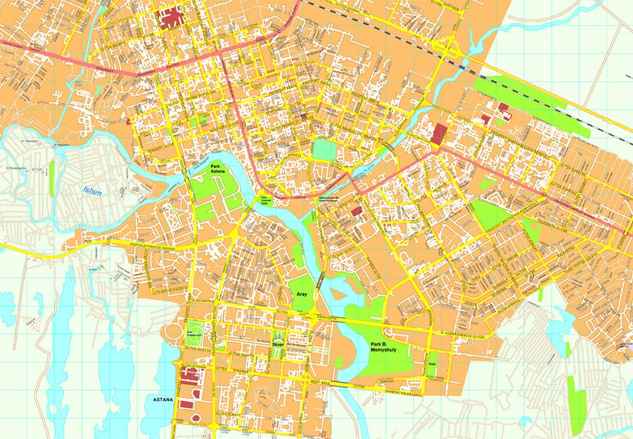Astana vector map EPS Illustrator Vector Maps of Asia Cities Eps