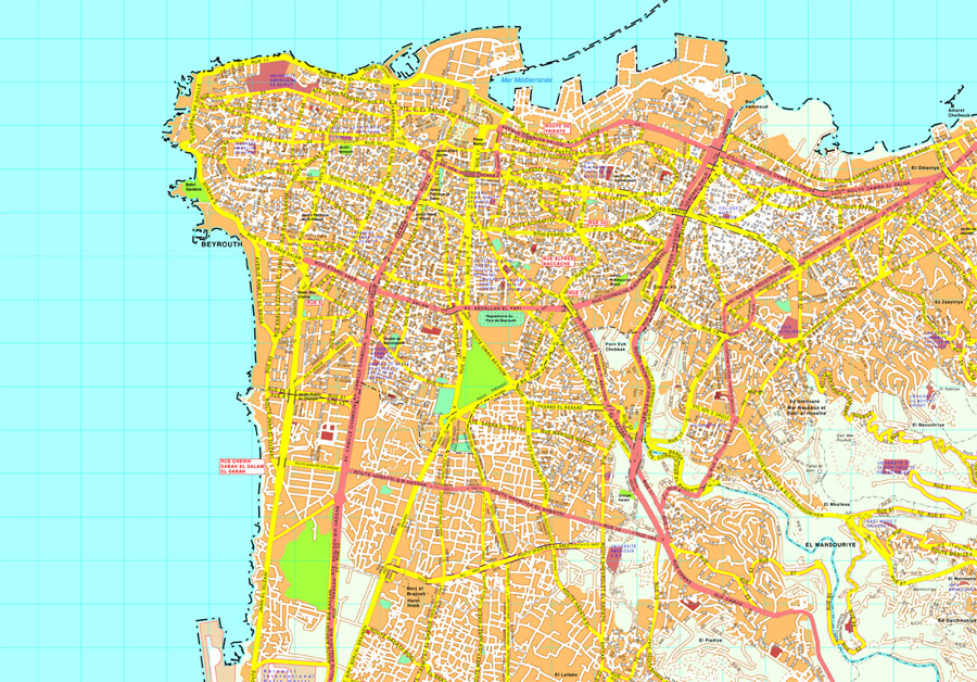 Beirut Vector map EPS Illustrator Vector Maps of Asia Cities Eps