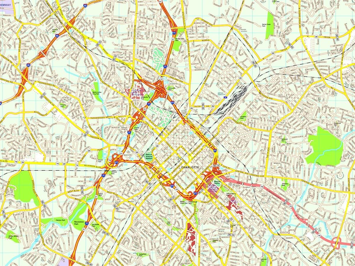 Maps Charlotte Chamber United States Of America USA Free Map Free - Us map charlotte
