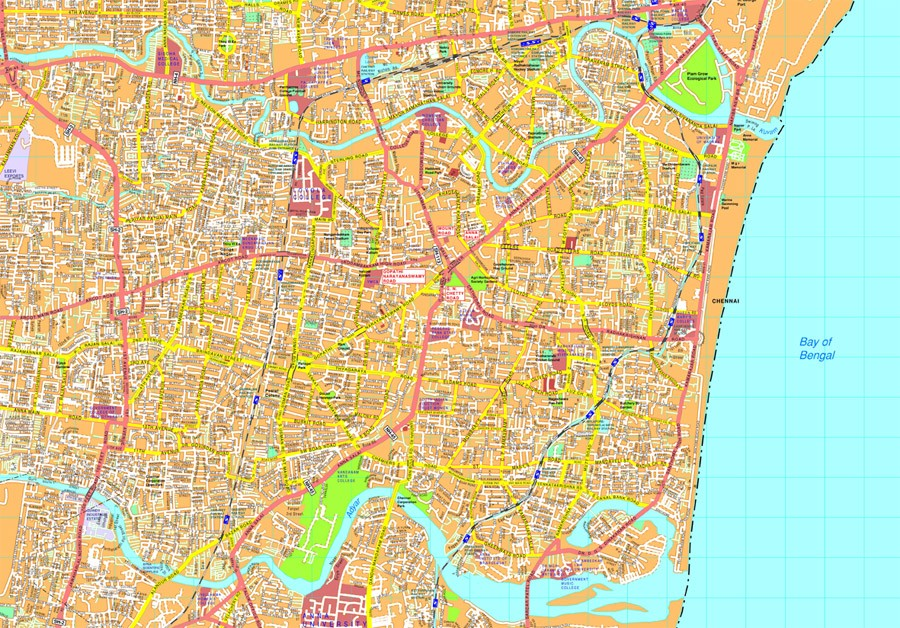 Chennai Vector map EPS Illustrator Vector Maps of Asia Cities Eps