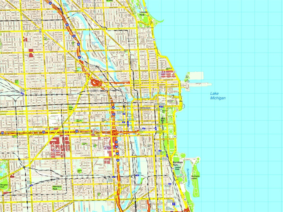 Chicago map Eps Illustrator Vector City Maps USA America Eps