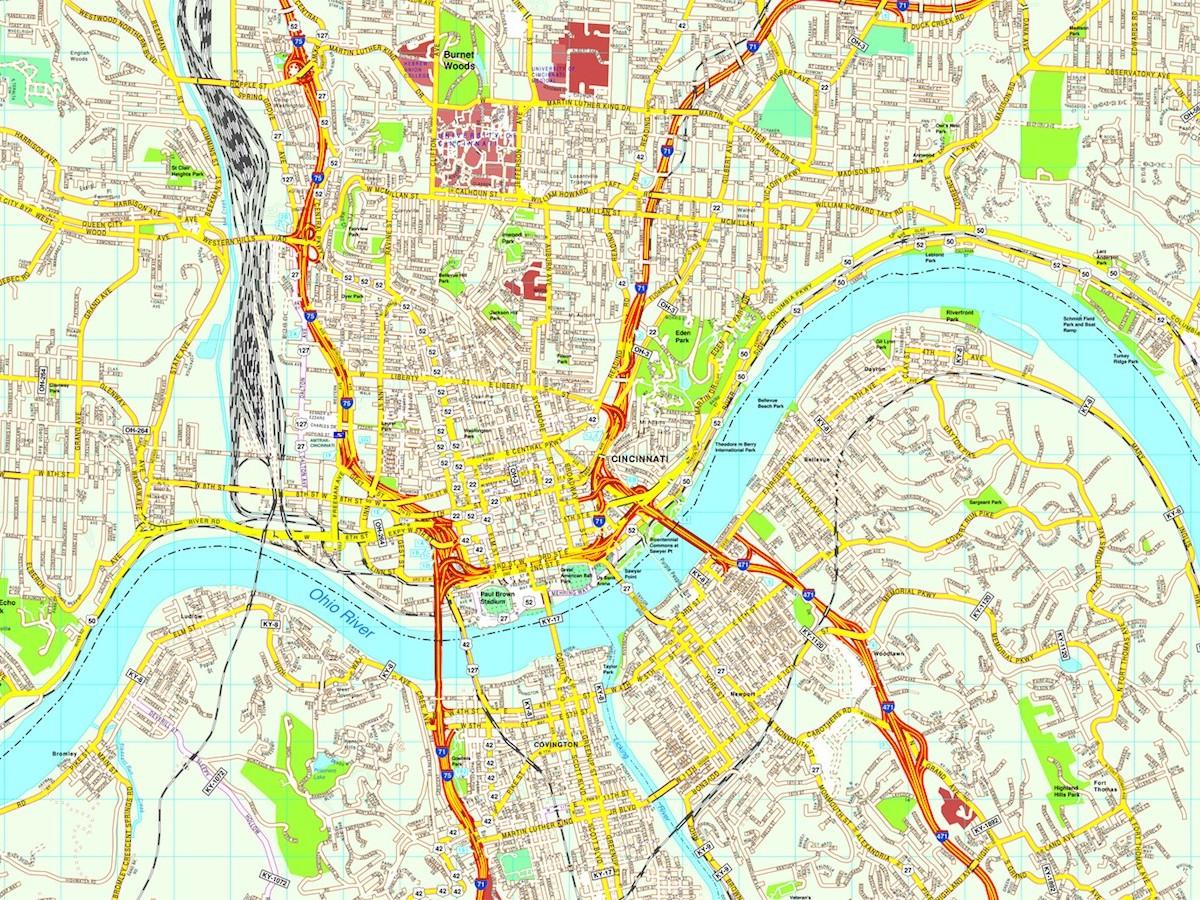 Cincinnati map. Eps Illustrator Vector City Maps USA America. Eps ...