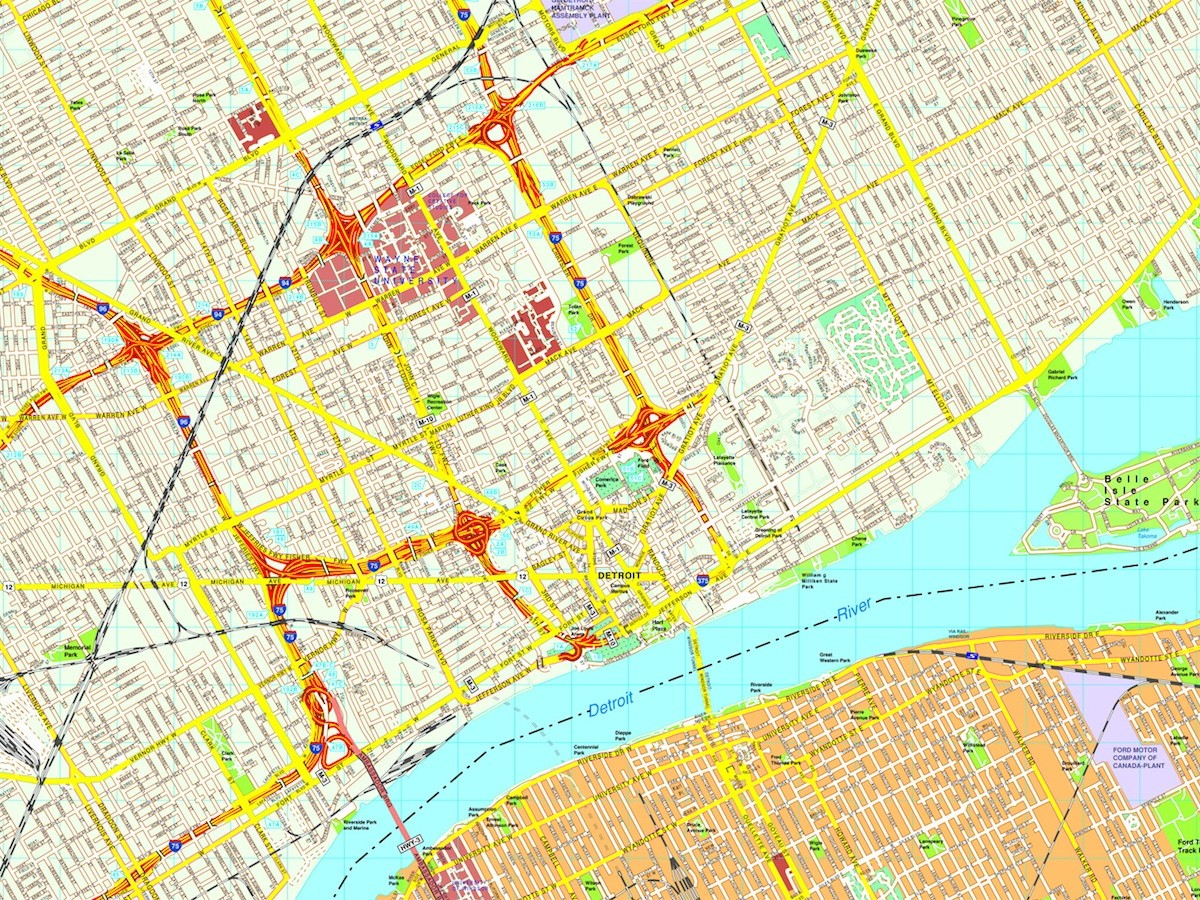Detroit Map Eps Illustrator Vector City Maps USA America Eps - Detroit usa map