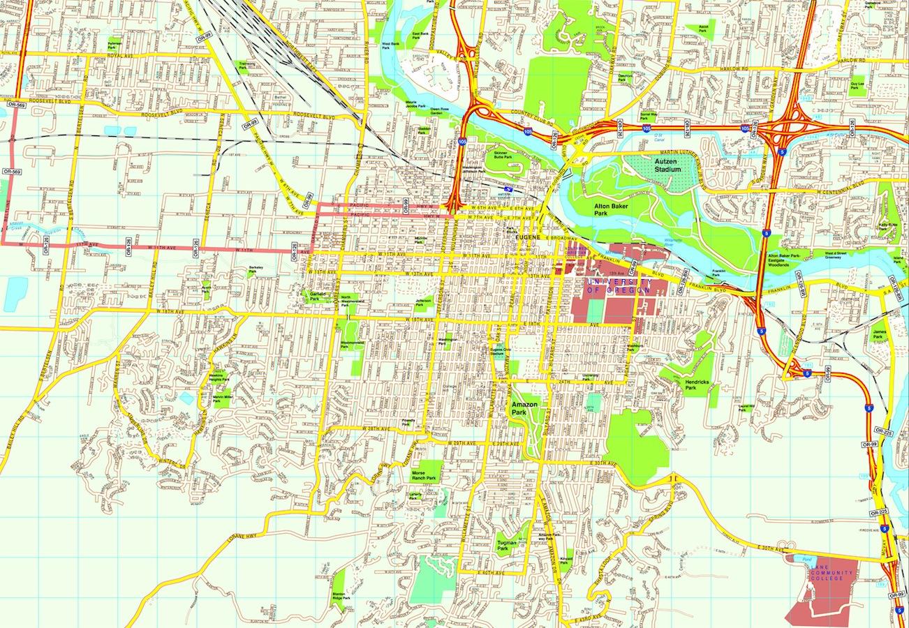 Eugene map. Eps Illustrator Vector City Maps USA America. Eps ... on