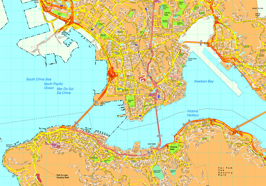 Map Of Asia Hong Kong.Hong Kong Vector Map Eps Illustrator Vector Maps Of Asia Cities