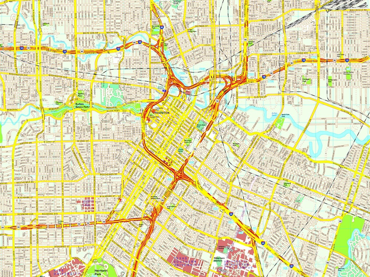 Houston map Eps Illustrator Vector City Maps USA America Eps