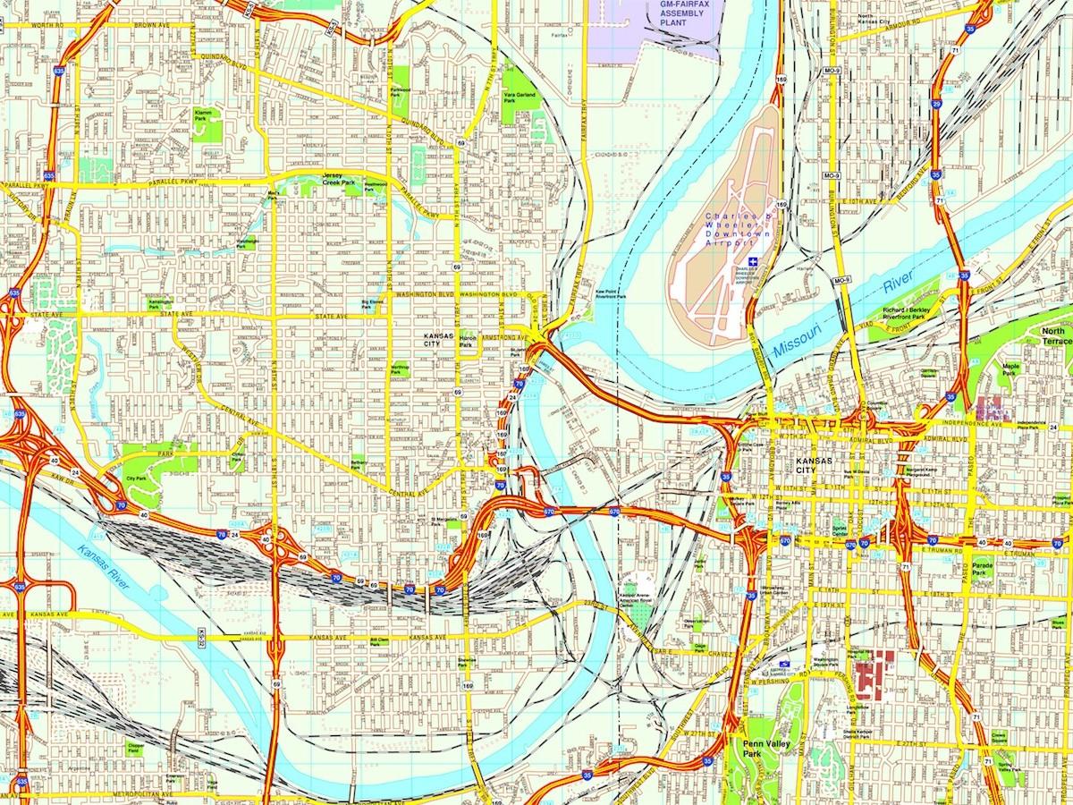 Map Of America Kansas City.Kansas City Map Eps Illustrator Vector City Maps Usa America Eps
