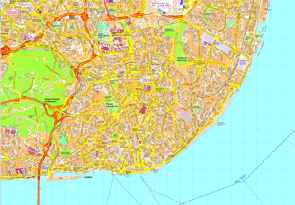 Lisbon Vector map Eps Illustrator Map Our cartographers have made