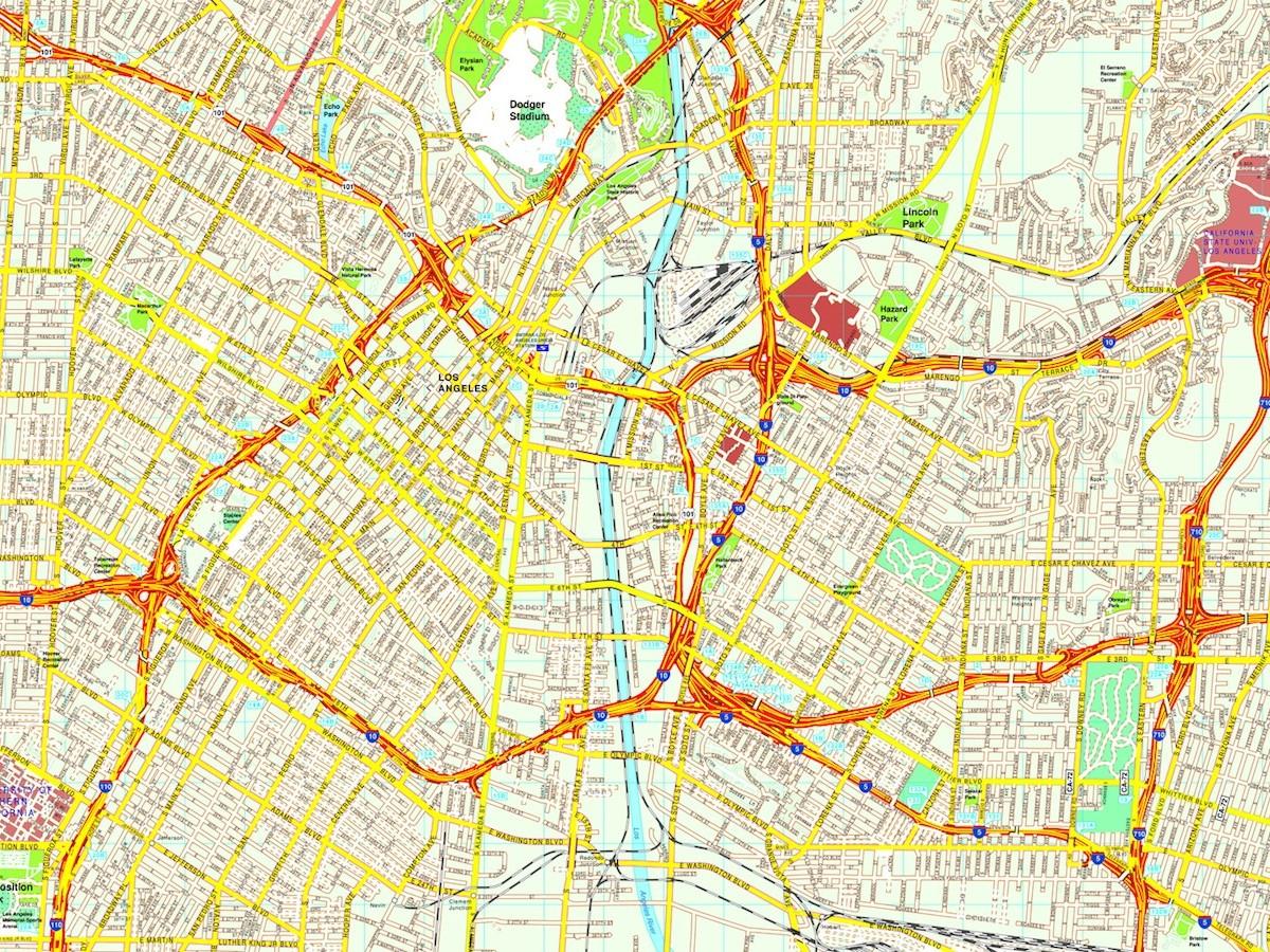Los Angeles Map Eps Illustrator Vector City Maps USA America Eps - Los angeles map us
