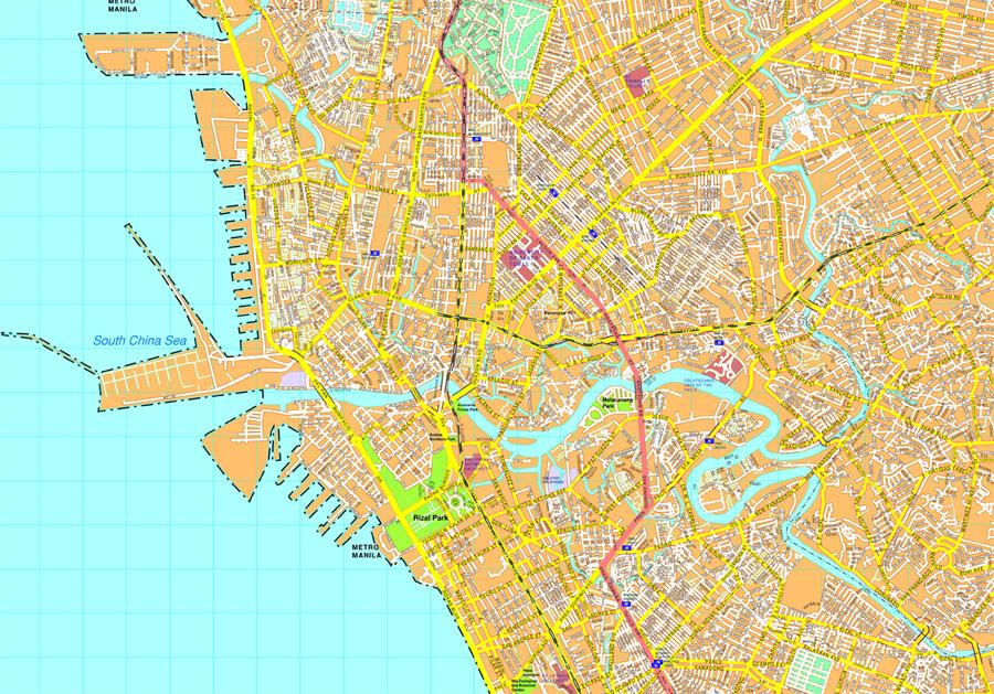 Manila vector map EPS Illustrator Vector Maps of Asia Cities Eps