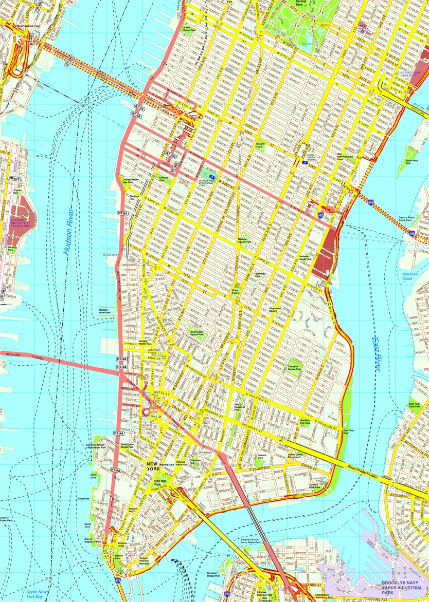 New York Manhattan map Eps Illustrator Vector City Maps USA America