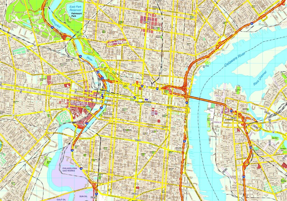 Philadelphia Vector Map Eps Illustrator Vector City Maps USA - Philadelphia map