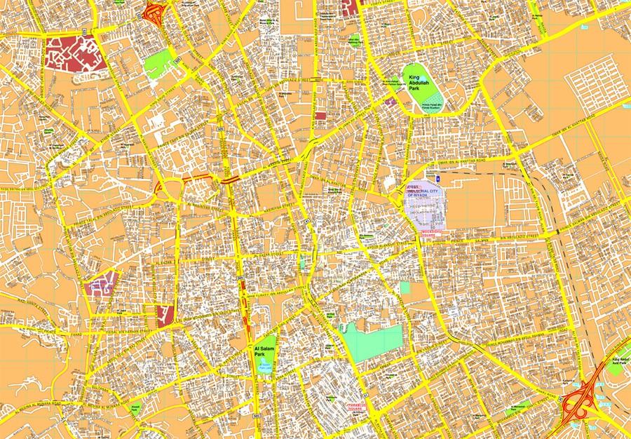 Riyadh vector map EPS Illustrator Vector Maps of Asia Cities Eps