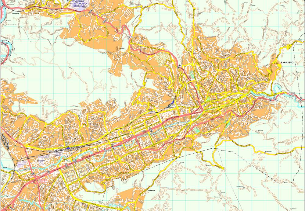 Sarajevo Vector Map Eps Illustrator Map Vector World Maps
