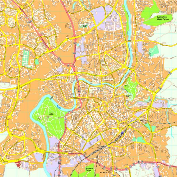 Europe City Vector Maps Eps City Maps Of Europe Street Maps Of - Vilnius map