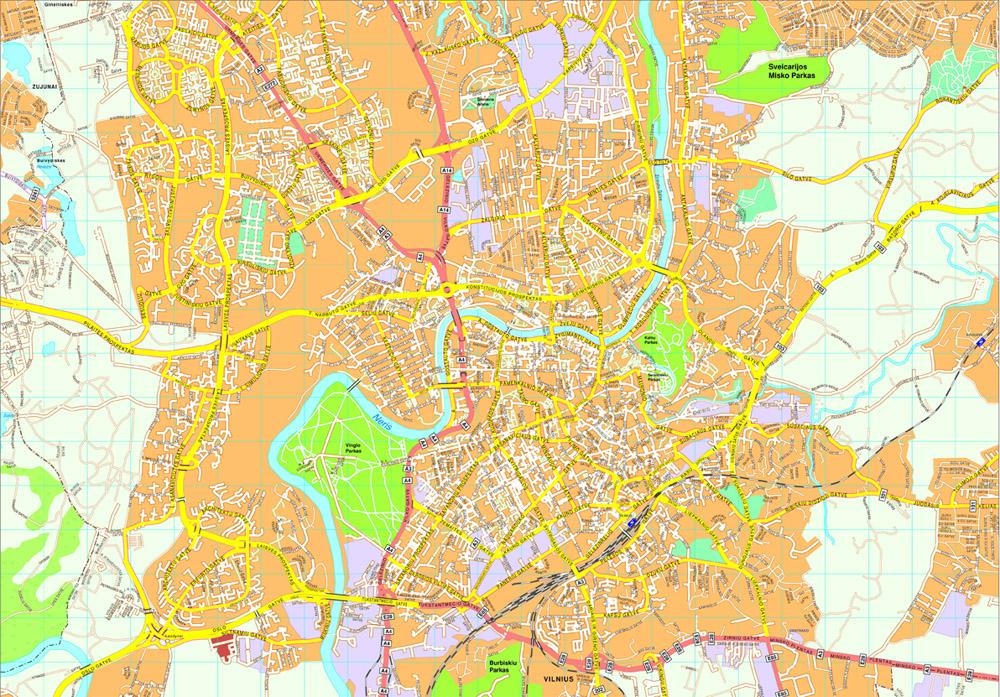 Vilnius Vector map. Eps Illustrator Map | Vector World Maps