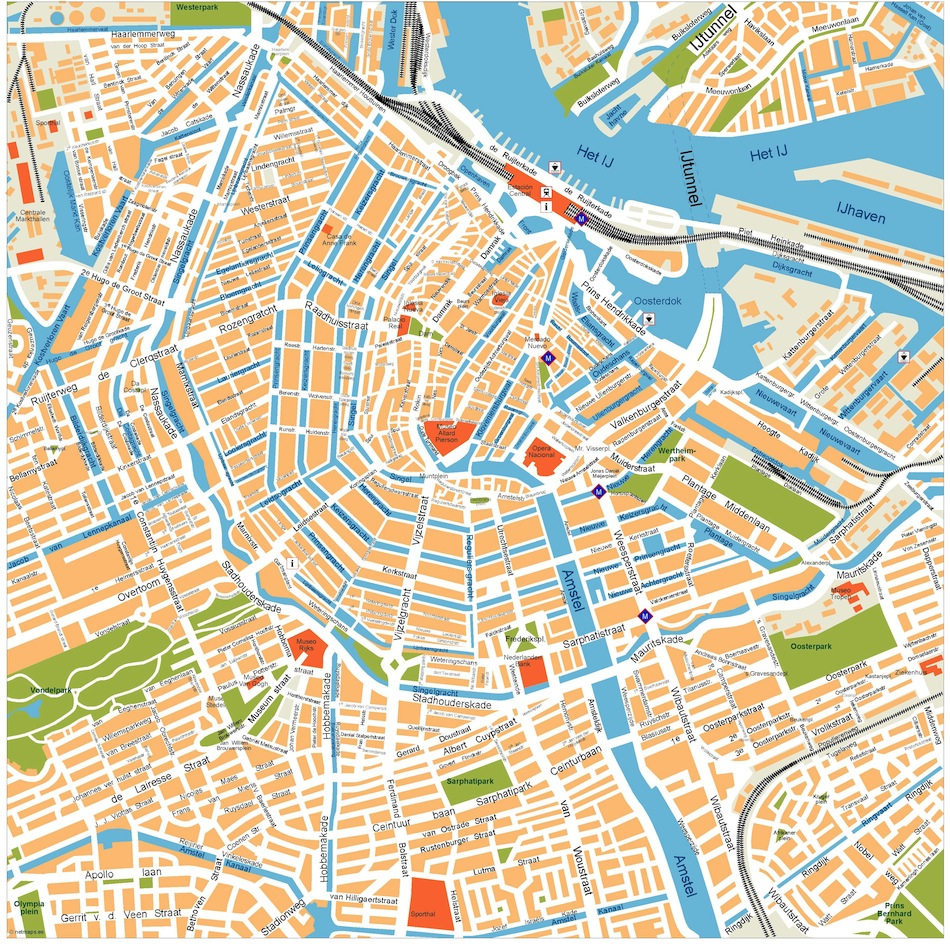 Amsterdam Vector Map Eps Illustrator Map Vector World Maps
