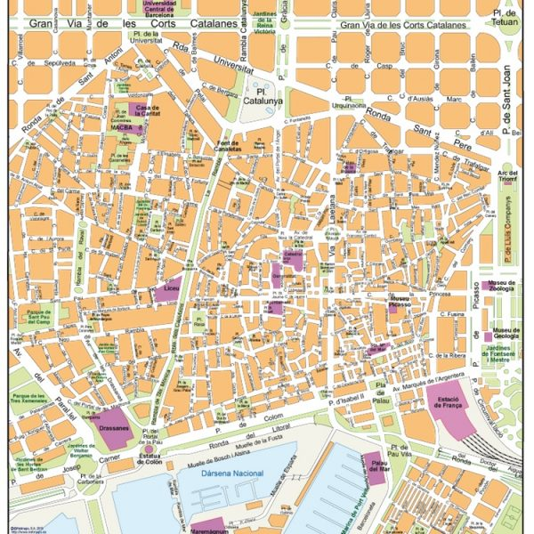 barcelona old town vector map