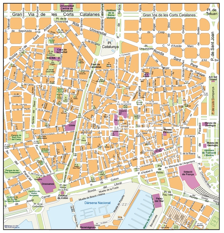 Barcelona Old Town Map Eps Illustrator Map Vector World Maps