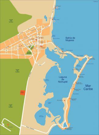 cancun vector map