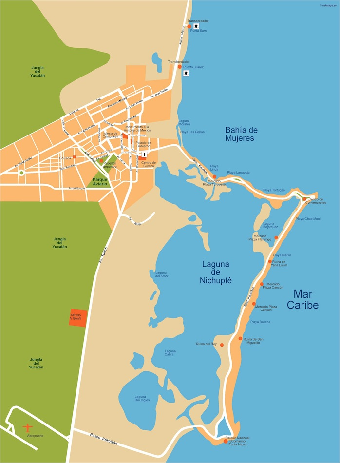 Cancun Vector Map Eps Illustrator Map