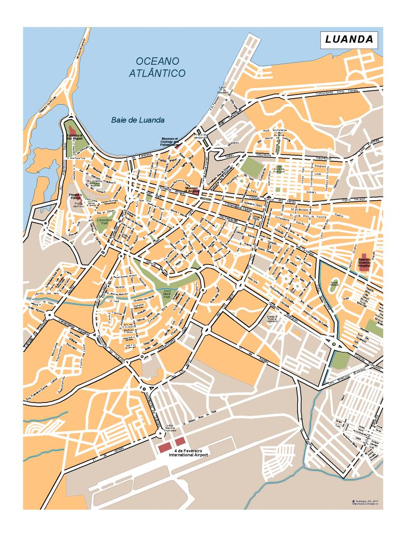 Luanda Vector map Eps Africa City Map Illustrator Vector Maps Eps
