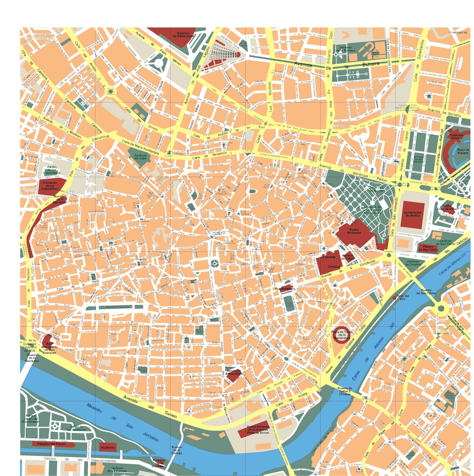 Seville vector map Eps Illustrator Map Our cartographers have