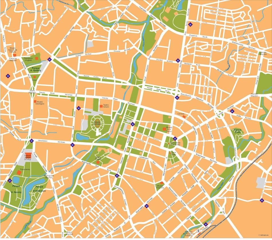 Tashkent vector map EPS Illustrator Vector Maps of Asia Cities Eps