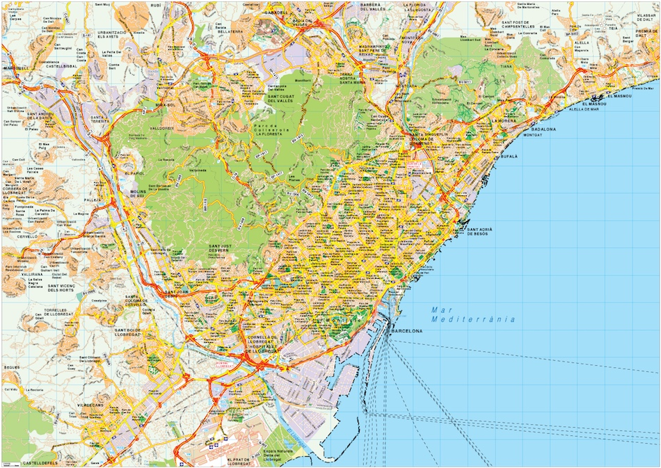 Barcelona map vector Eps Illustrator Map Our cartographers have