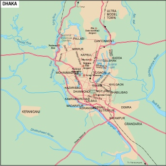 Dhaka Vector map. EPS Illustrator Vector Maps of Asia Cities. Eps ...