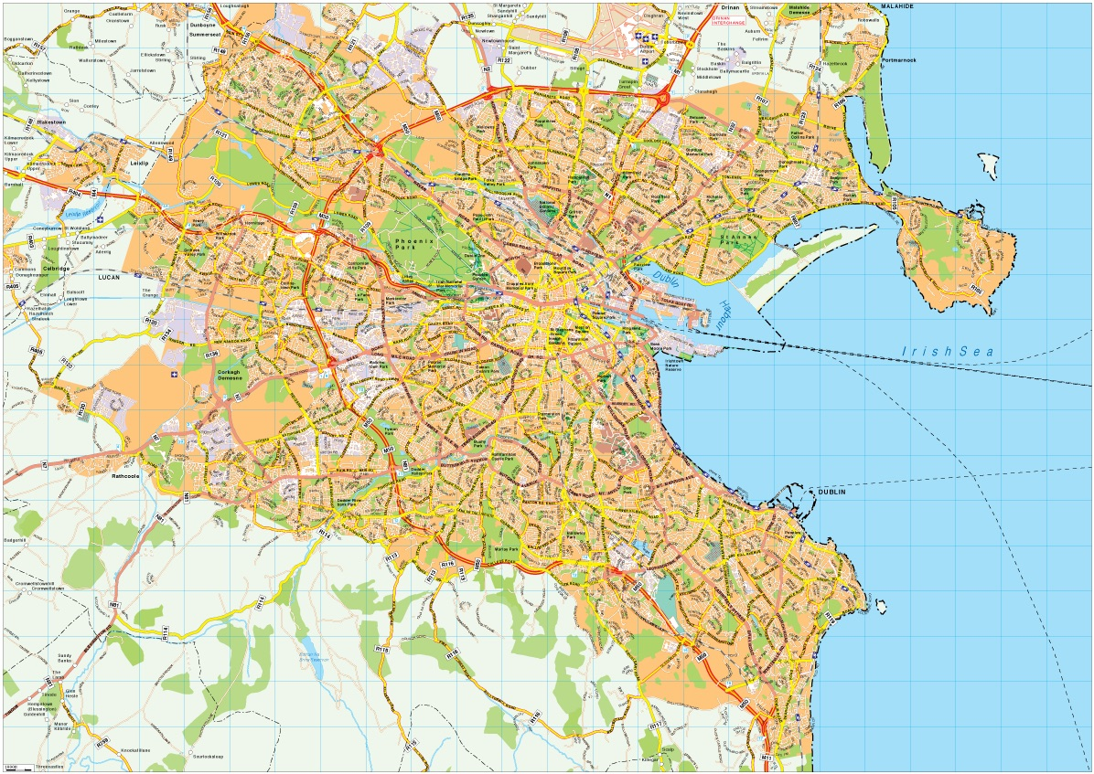 Dublin street map Vector Wall Maps from Netmaps Made in