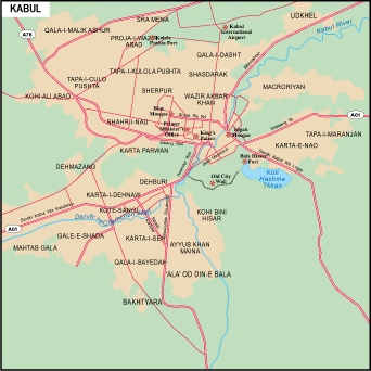 Kabul Vector map EPS Illustrator Vector Maps of Asia Cities Eps