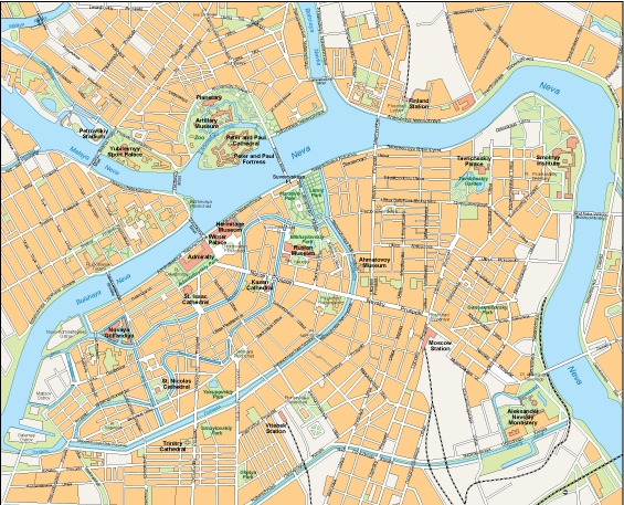 Saint Petersburg vector map