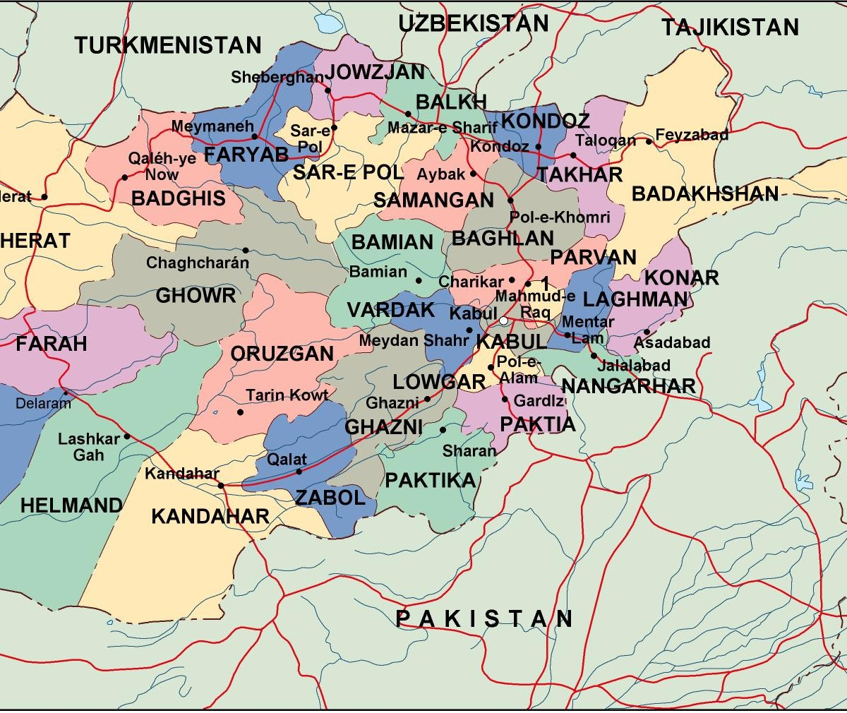 afghanistan political map. Eps Illustrator Map | Vector World Maps
