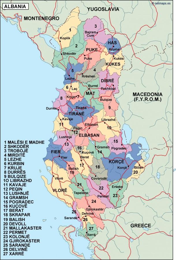 Albania Political Map Illustrator Vector Eps Maps Eps Illustrator