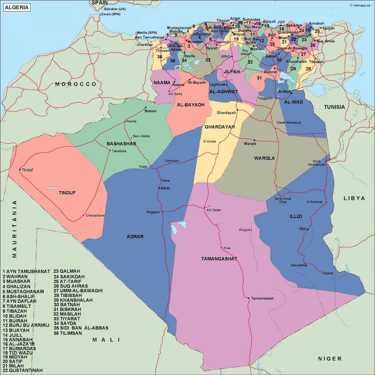 algeria political map. Vector Eps maps. Eps Illustrator Map | Vector ...