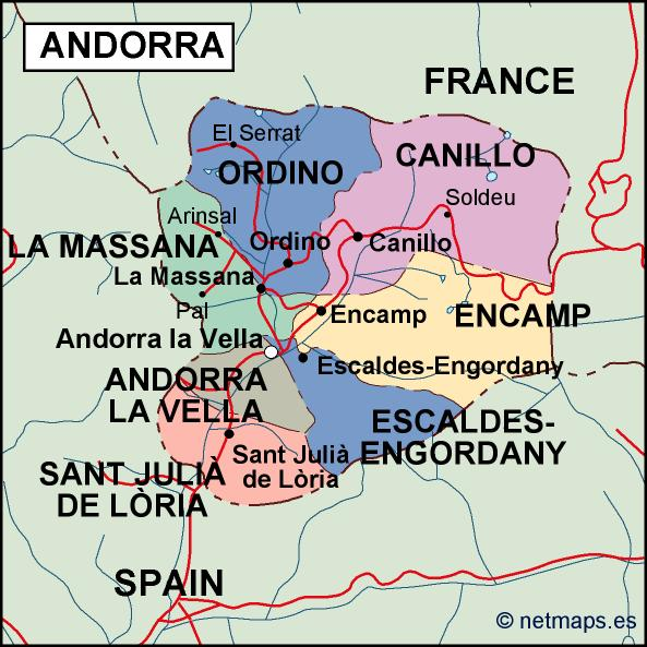 Map Of Spain France And Andorra.Andorra Political Map