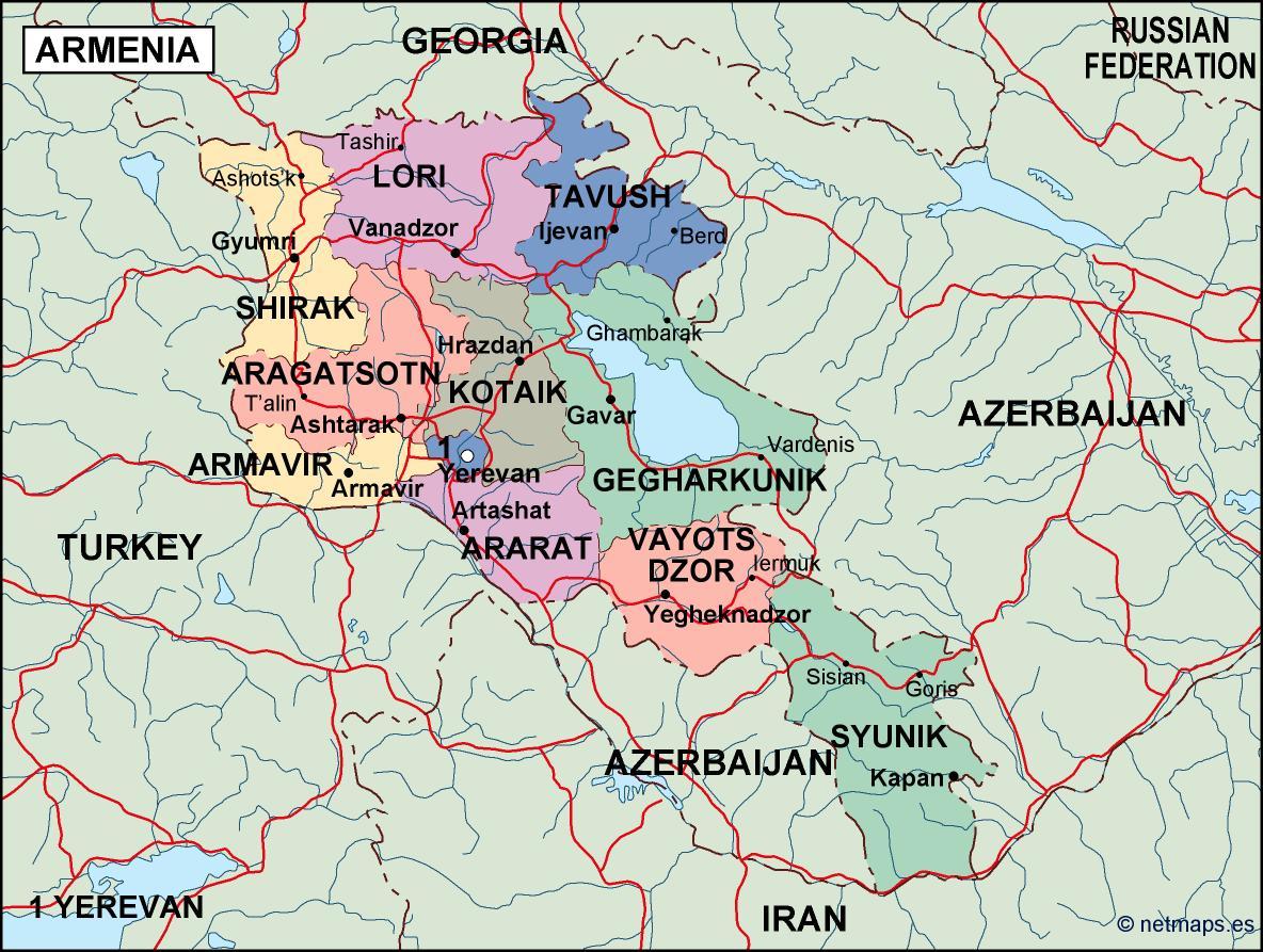 Armenia Political Map Illustrator Vector Eps Maps Eps - Political map of armenia