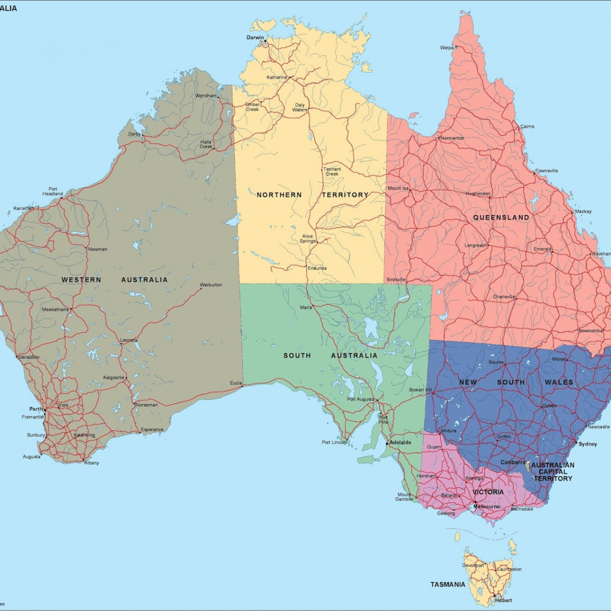 Australia Political Map Eps Illustrator Map Our Cartographers - Australia political map