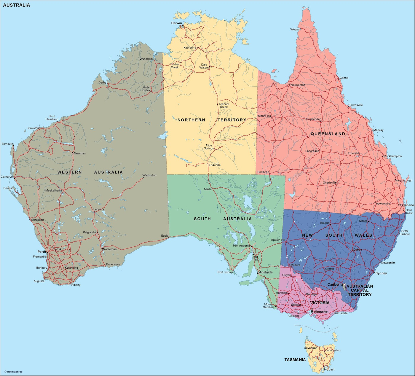 australia vector files | Vector & Wall Maps from Netmaps ...