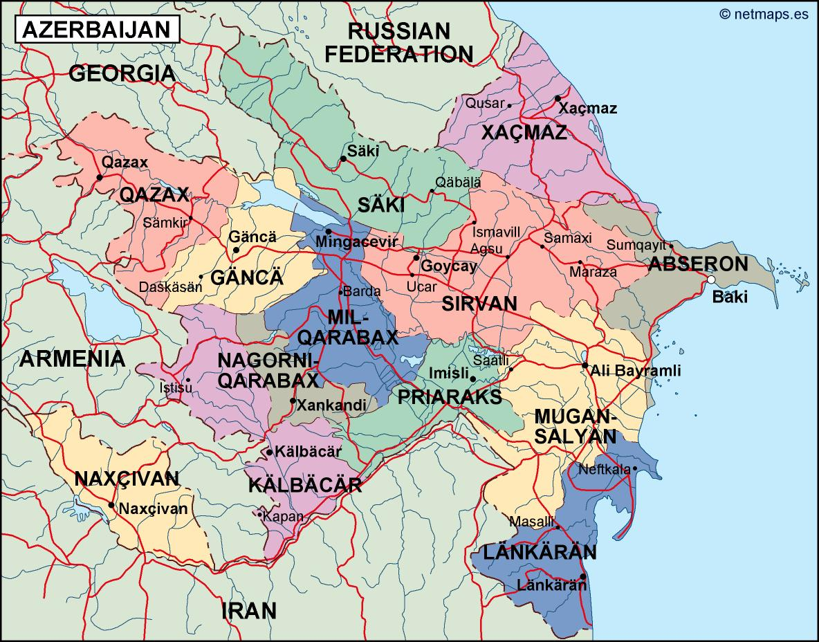 azerbaijan political map.
