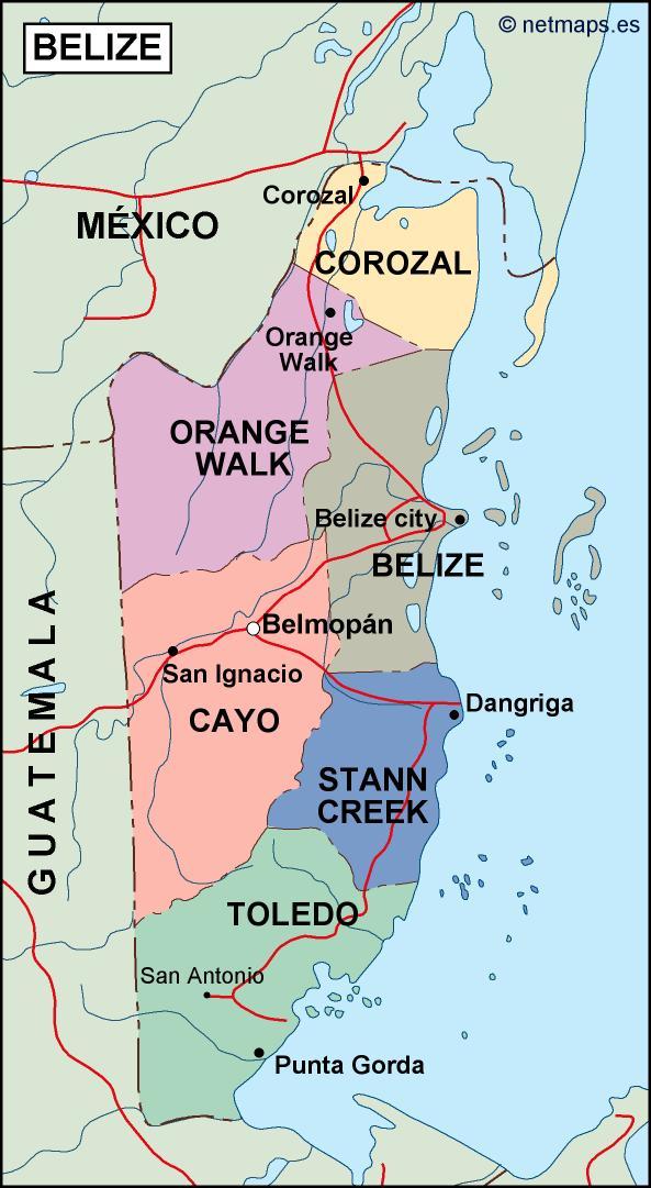 Belize Political Map Eps Illustrator Map Vector World Maps