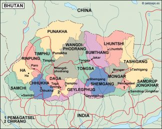 bhutan political map on map of chile, united states of america, map of india, map of peru, map of sri lanka, map of japan, map of nepal, map of myanmar, map of k2, jetsun pema, map of china, map of middle east, map of iraq, map of singapore, map of tibet, south asia, sri lanka, map of brunei, map of philippines, map of liechtenstein, map of bangladesh, map of turkey, map of himalayas, map of asia,