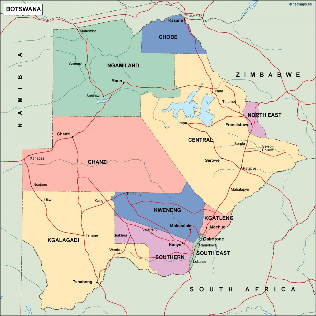 botswana political map Vector Eps maps Eps Illustrator Map Our