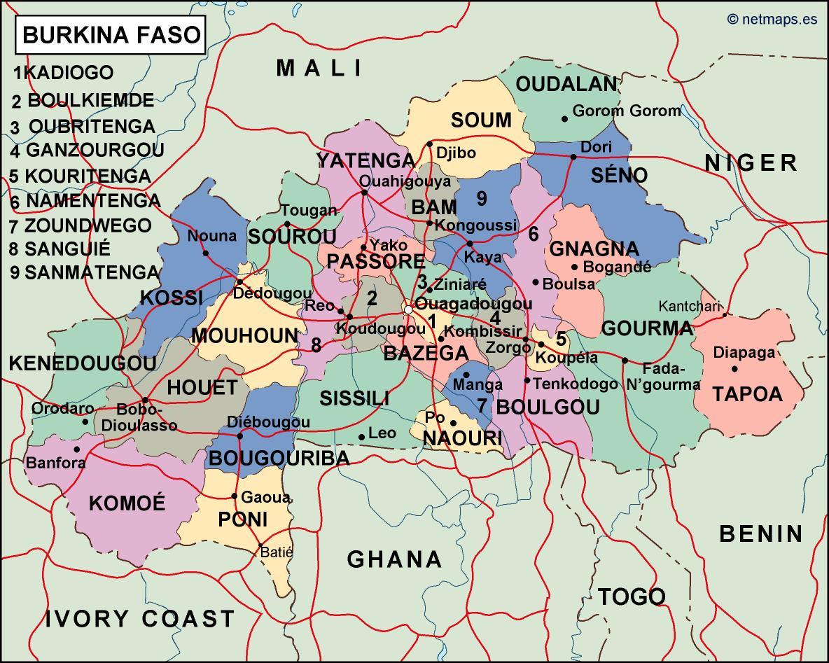burkina faso political map Vector Eps maps Eps Illustrator Map