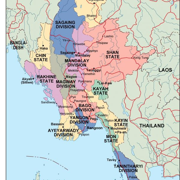 burma political map