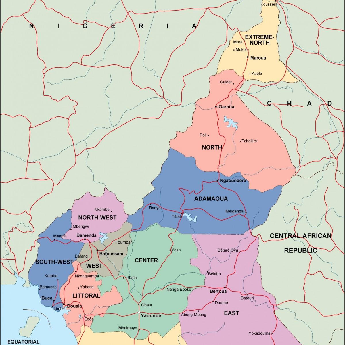 cameroon political map on côte d'ivoire map, estonia map, grenada map, monaco map, gambia map, saudi arabia map, rwanda map, madagascar map, ghana map, egypt map, mali map, sudan map, namibia map, croatia map, tunisia map, congo map, algeria map, thailand map, kenya map, angola map, liberia map, cape verde map, morocco map, gabon map, uganda map, africa map, libya map, nigeria map, senegal map, malawi map, ecuador map, comoros map, niger map, ethiopia map, mozambique map, zimbabwe map,