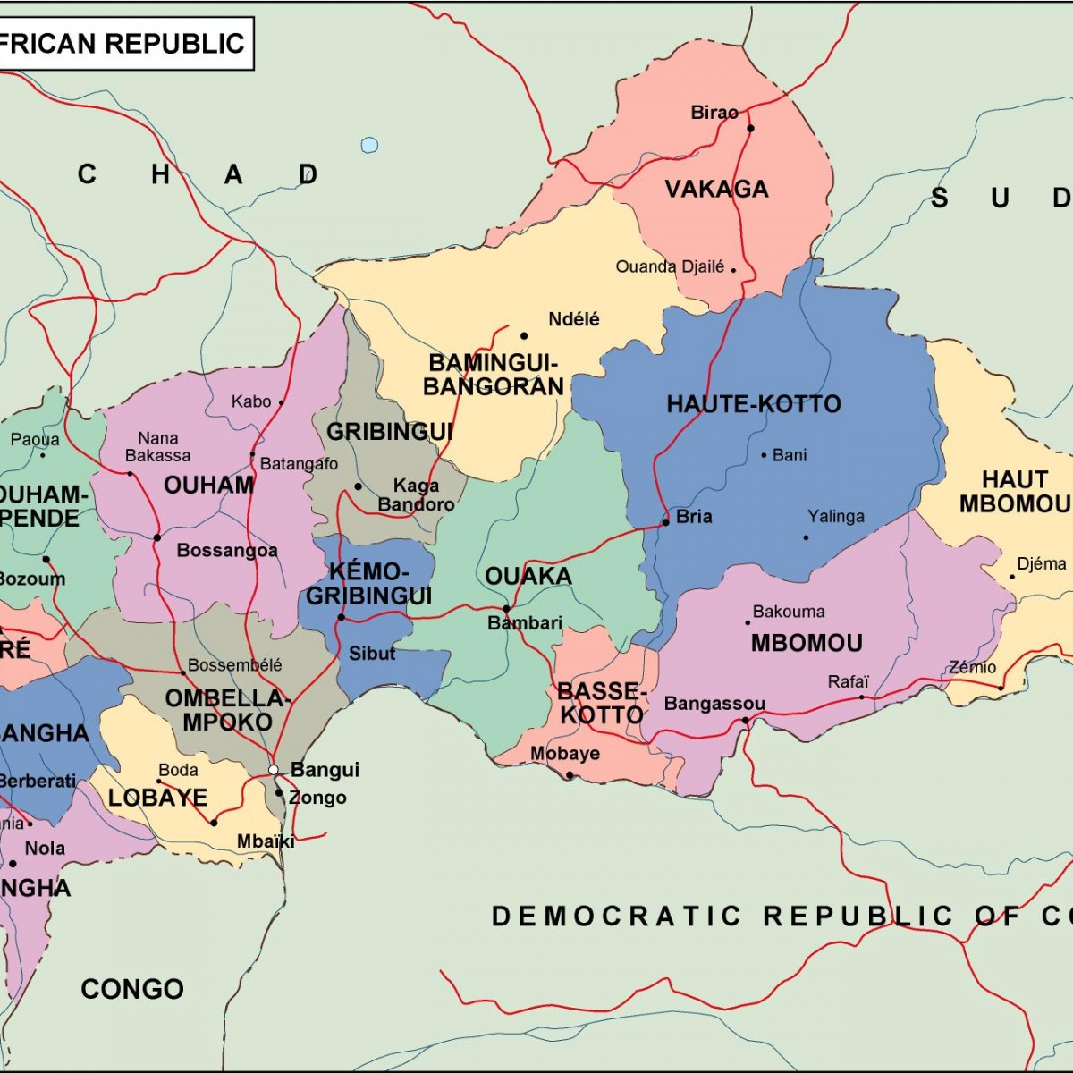 central africa political map Vector Eps maps Eps Illustrator Map