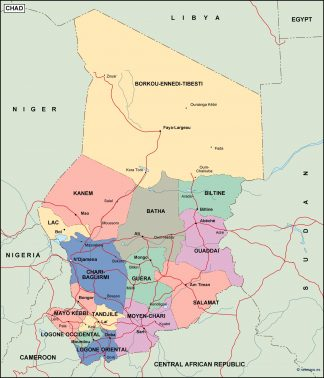 Chad Africa Map on