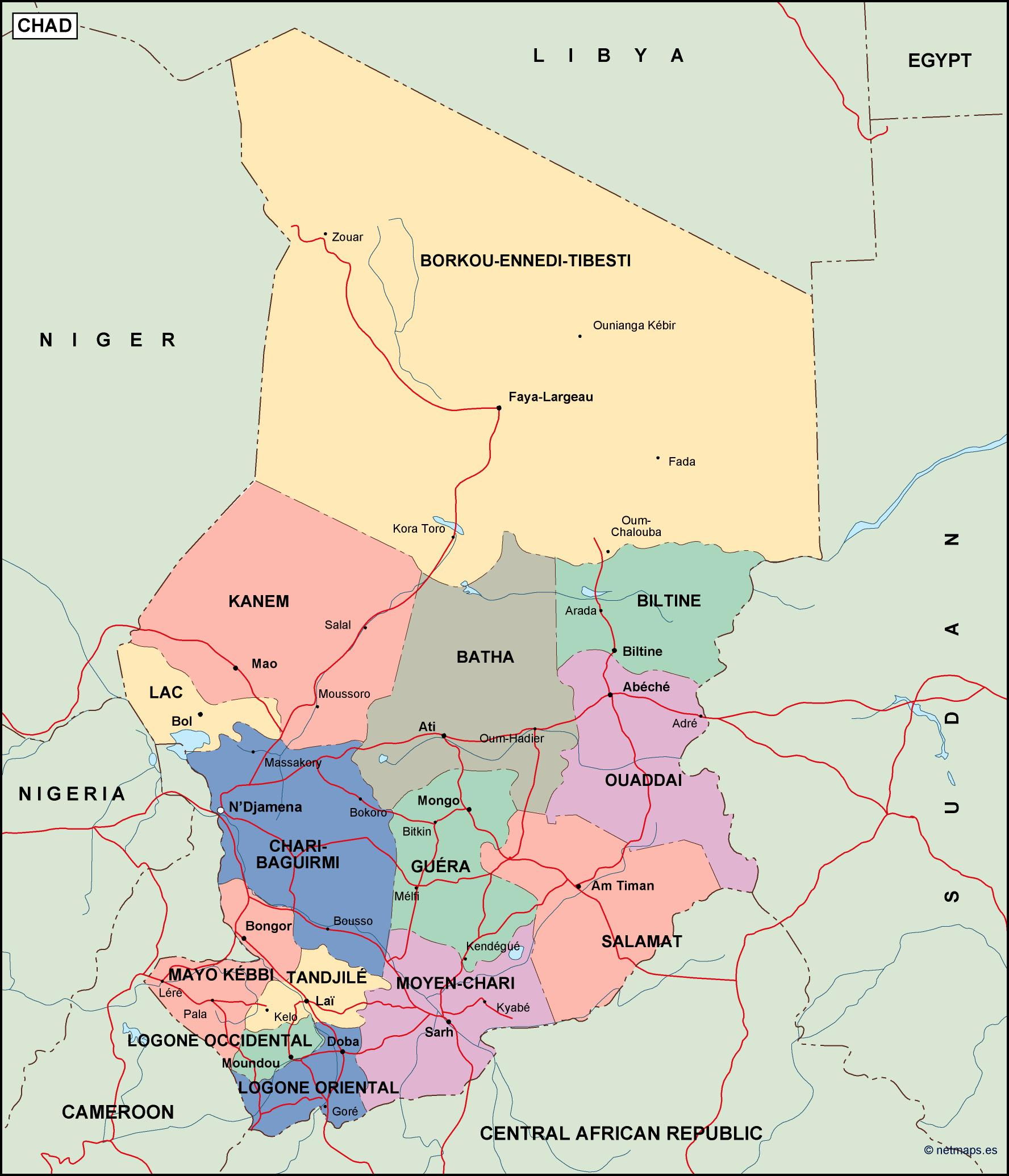 chad political map Vector Eps maps Eps Illustrator Map Our